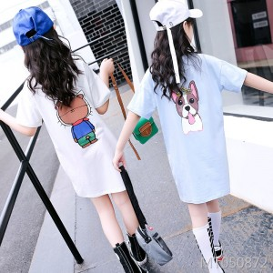 2019 new loose fat version of the letter printed cartoon short-sleeved T-shirt skirt