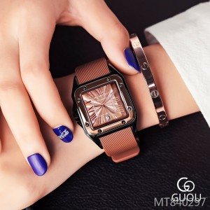 GUOU retro Roman square waterproof strap calendar quartz ladies watch
