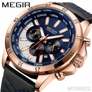 Megir fashion three-eye multi-function large dial leather men's sports watch