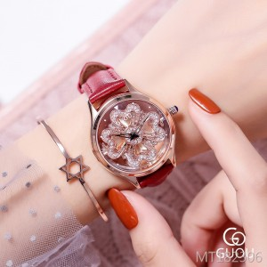 GUOU new steel belt is running to open the exquisite rhinestone ladies watch