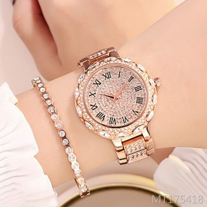 GEDI new full diamond steel belt ladies watch