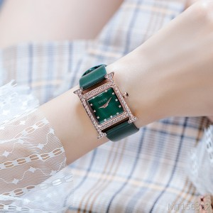 GUOU square shell temperament wild rhinestone waterproof ladies watch