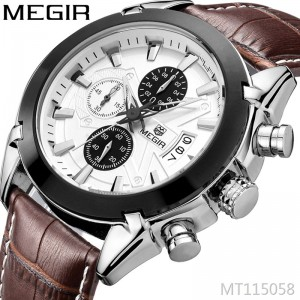 MEGIR multi-function explosion style casual fashion quartz waterproof leather men's watch