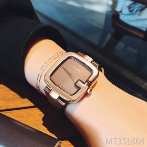 GUOU square trend fashion rose gold temperament ladies watch