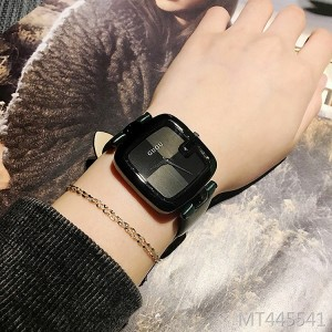GUOU personality square trend black temperament ladies watch