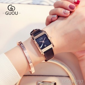 Guou square simple scale female watch