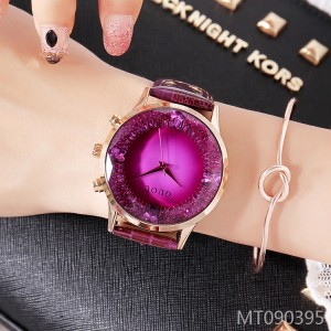 GUOU luxury fashion handsome purple leather strap ladies watch