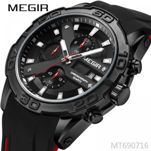 MEGIR multi-function chronograph luminous calendar men's watch