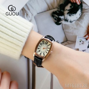 Guou retro rectangular small ladies watch waterproof strap women's watch