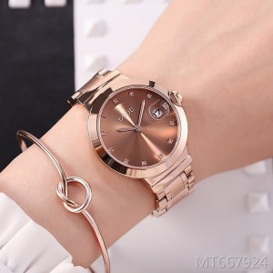 Ancient European new rose gold ladies watch with calendar diamond