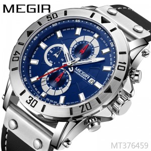 MEGIR Meigel fashion sports three-eye timing leather wild men's quartz watch