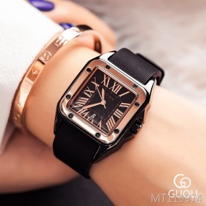GUOU square retro Roman scale ladies watch