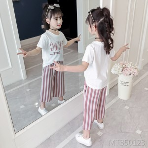 2019 new girls summer fashion wide leg pants suit