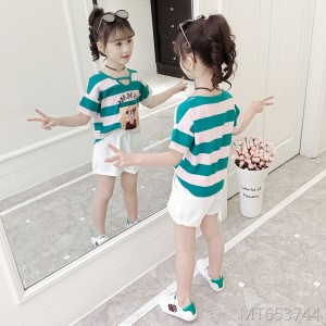 2019 new children's striped fashion wild two-piece