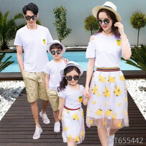 Summer travel mother and daughter pineapple Zhangzi embroidery mesh skirt father and son T-shirt suit