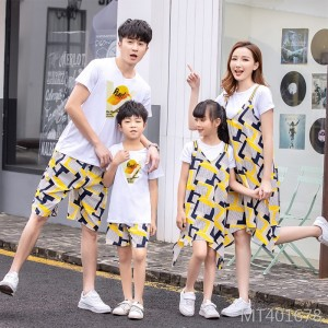 2019 new three-person casual suit mother and daughter skirt two-piece suit