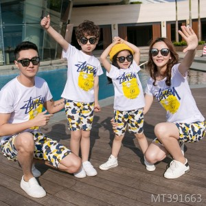 Parent-child wear summer new explosion models children's cotton short-sleeved cartoon couple suit