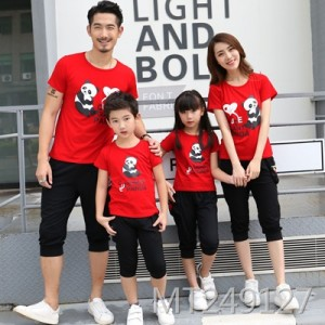 2019 new casual T-shirt sports set family wear happiness bear