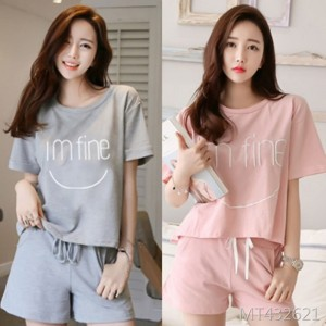 Korean version of the girl cute casual sports milk silk home service suit