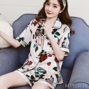 2019 summer suit collar short-sleeved couple pajamas women's printed home service