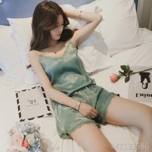 Sexy sling chiffon silk pajamas ladies summer short-sleeved shorts pajamas female summer Korean version of the suit female home service
