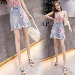 2019 new hole sequin print high waist was thin a word bag hip denim skirt