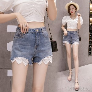 2019 Korean lace stitching high waist straight slim slimming hot pants