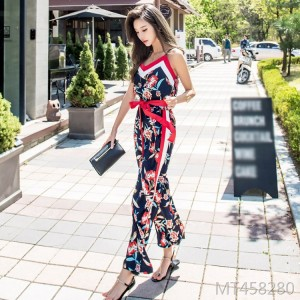 2019 new wide leg print jumpsuit