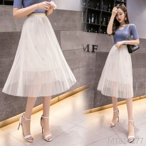 2019 mesh skirt female skirt spring long section