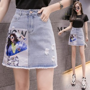 2019 summer new A word printing nail drill washed hole skirt