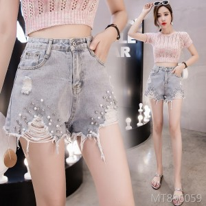 2019 new heavy work beaded denim shorts