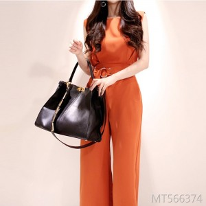2019 new sleeveless band width loose wide leg trousers jumpsuit