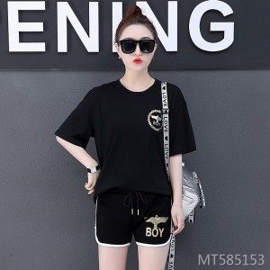 2019 new fashion large size loose short sleeve casual two-piece suit