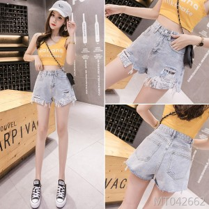 2019 summer high waist hole raw edge slim straight slim shorts