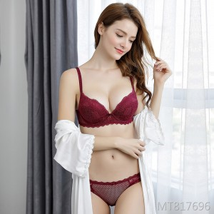 2019 new small chest gathered bra set