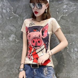 2019 new fashion printed short-sleeved bottoming shirt Slim shirt