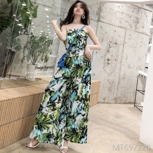 2019 spring and summer new flower print tube top women's wide leg piece trousers