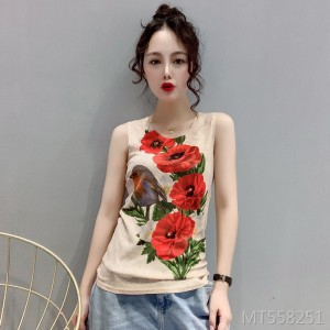 2019 new short print vest sleeveless bottoming shirt T-shirt