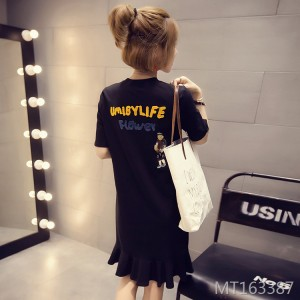 2019 Korean version of the new embroidered short-sleeved mid-length dress