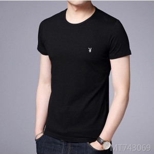 Round neck print 2019 new dude solid color cotton half sleeve t-shirt