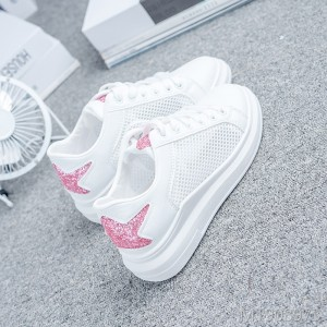 2019 new flat bottom sports net shoes women's breathable mesh 缕 blank shoes