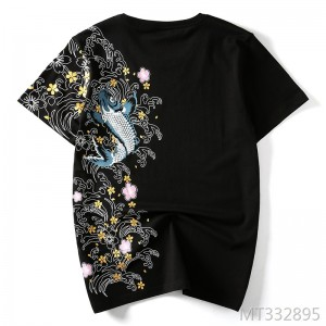 Summer Japanese fashion brand embroidery personality loose t-shirt men's cotton