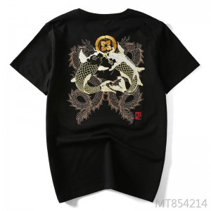 Tide brand Chinese style squid embroidery round neck men's short-sleeved T-shirt
