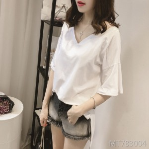 2019 new Korean version of the loose V-neck sling short-sleeved T-shirt