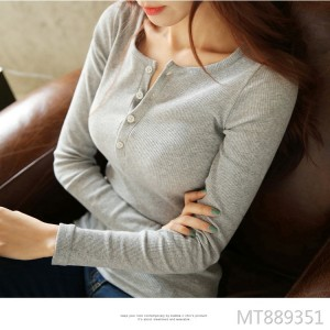 2019 autumn button thread solid color long-sleeved t-shirt