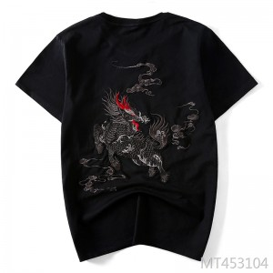 New national tide Chinese style unicorn embroidery short-sleeved t-shirt male