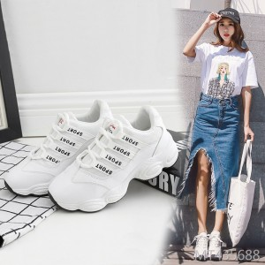 2019 new super fire chic sports shoes female Korean version increased white shoes