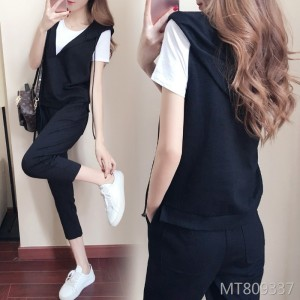 2019 new suit short-sleeved shirt vest cropped trousers three-piece suit