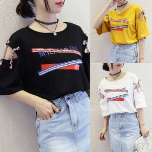 2019 new Korean version of Harajuku BF wind loose half-sleeve chic top