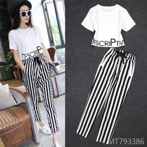 2019 new short-sleeved T-shirt female + casual pants female two-piece